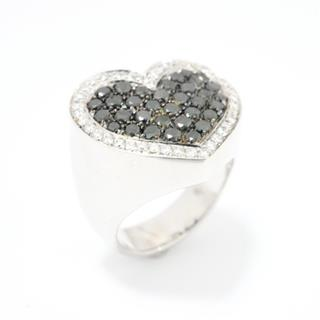 Ponte Vecchio 〈ポンテヴェキオ〉 Black diamond heart ring