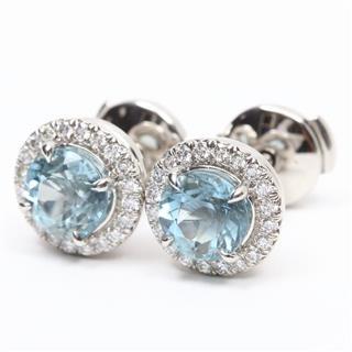 TIFFANY&CO〈ティファニー〉Sorrest Aquamarine Diamond Earrings