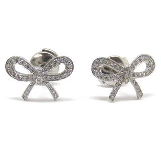 TIFFANY&CO〈ティファニー〉Bow Ribbon Diamond pierced Earrings