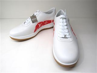 LOUIS VUITTON 〈ルイヴィトン〉 Auth LOUIS VUITTON Sneakers Shoe White Red LV Size 7 Limited Edition Supreme