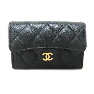 CHANEL〈シャネル〉Matelasse caviar skin flap card case