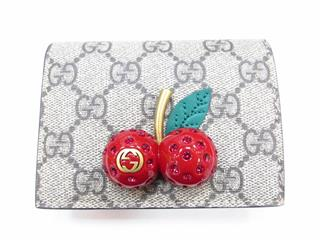 GUCCI 〈グッチ〉 Two-fold Wallet Card Case with Cherry